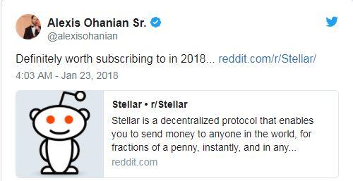Reddit創辦人看好Stellar Lumens