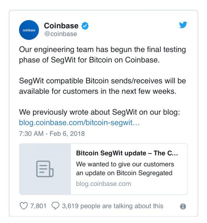 Coinbase將實施SegWit隔離見證