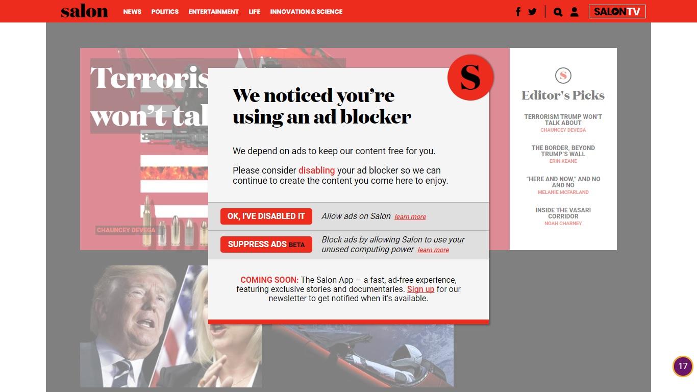 網媒Salon透過CoinHive 利用讀者電腦採礦門羅幣