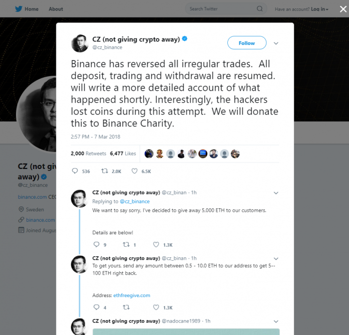 不斷更新:幣安已回復正常,趙昌鵬指黑客掉錢