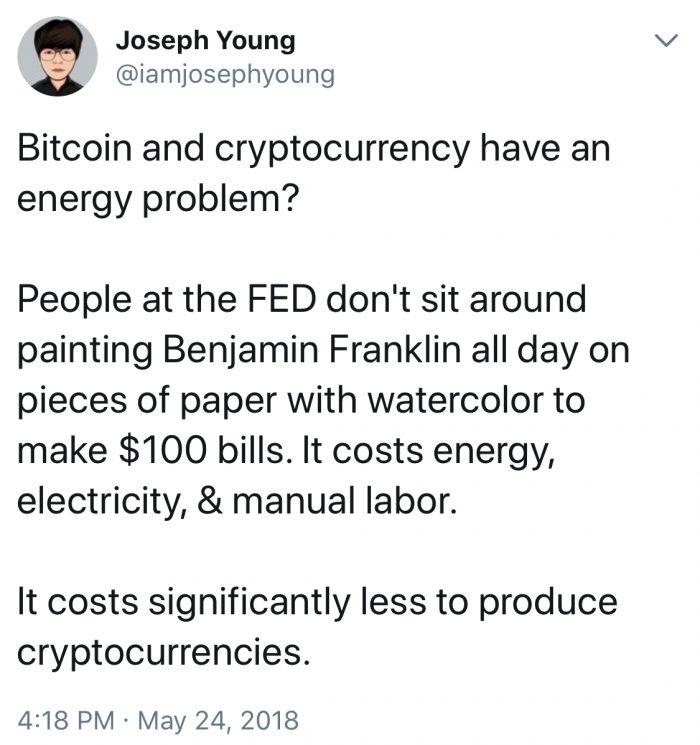 掘礦浪費能源?加密貨幣也許比傳統貨幣消耗的資源少