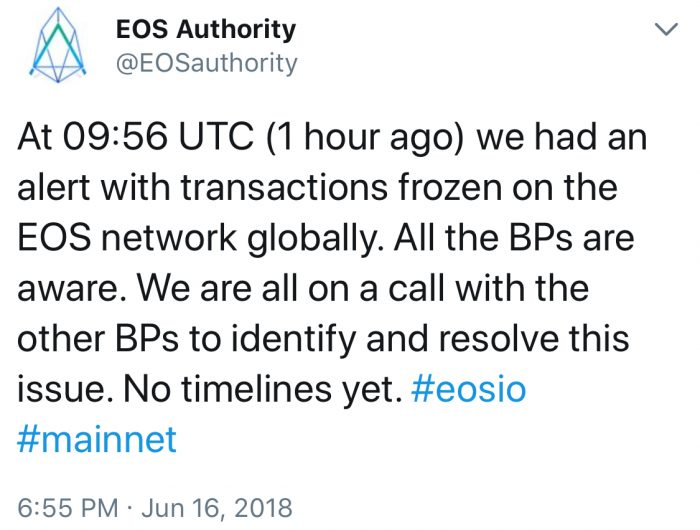 突發:EOS 區塊鏈出現軟件問題而凍結交易