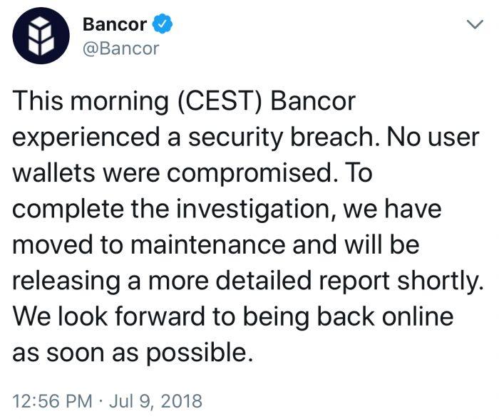 突發: 交易所Bancor被盜1200萬美元的以太幣