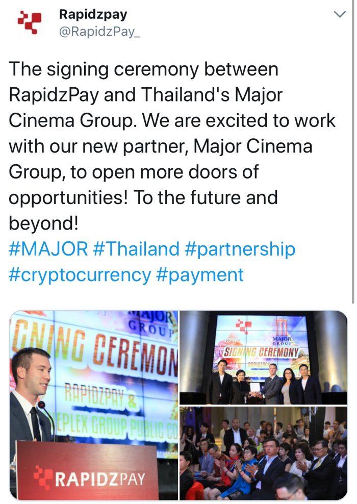 泰國最大電影院Major Cineplex已接受加密貨幣支付