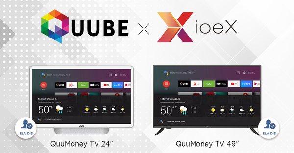 台灣新創ioeX宣布與QUUBE合作,開發首款去中心化組網應用的區塊鏈電視(QuuMoney TV),並裝載在日本知名大廠JVC的智能電視中,將於2019下半年正式亮相。 圖/ioeX提供